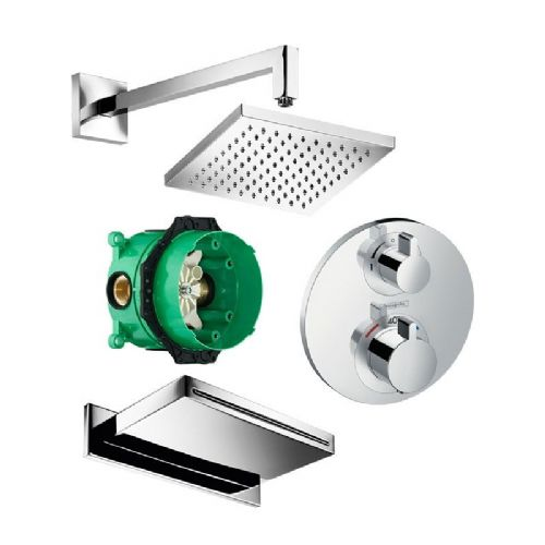 Abacus Temptation Thermostatic Concealed Shower Kit With Square Shower Head And Bath Kit